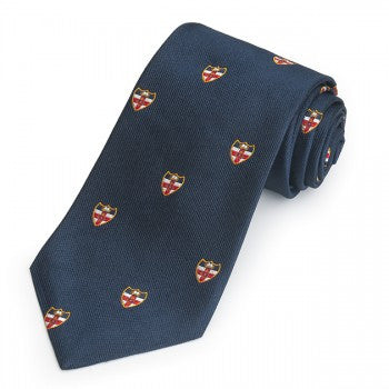 City of London Crest, Navy | Silk Repp Tie | Benson and Clegg | Made in England-Necktie-Sterling-and-Burke