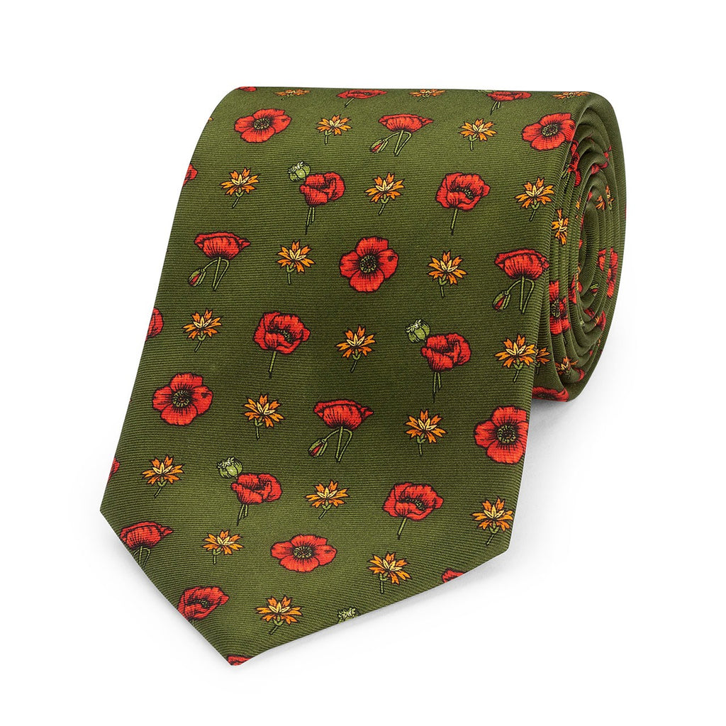 Poppy Foulard, Green | Silk Tie | Budd Shirtmakers | Made in England-Necktie-Sterling-and-Burke