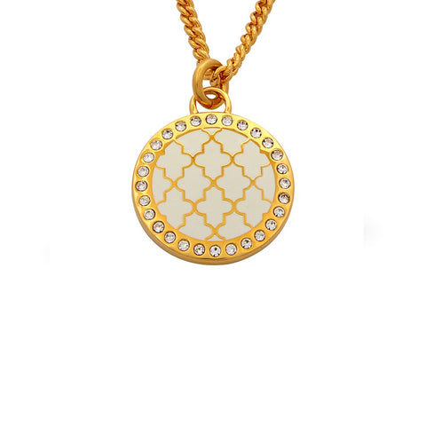 Enamel Pendant | Agama Sparkle Pendant Necklace | Cream and Gold | Halcyon Days | Made in England