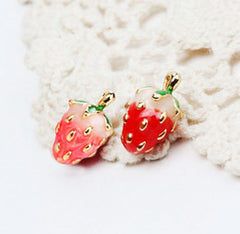Tiny Strawberry Studs-Cufflinks and Stud Sets-Sterling-and-Burke