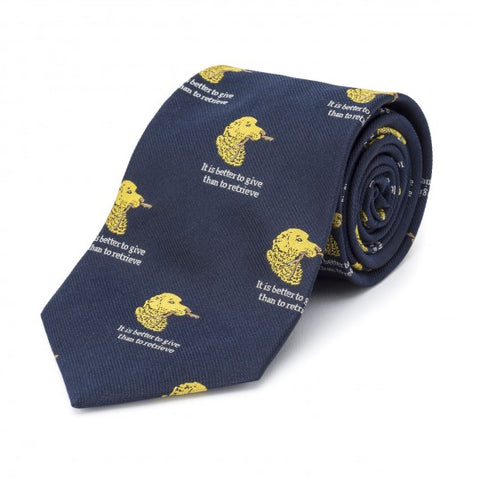 Simon Drew Better To Give Than Retrieve Tie, Navy | Silk | Budd Shirtmakers | Made in England-Necktie-Sterling-and-Burke