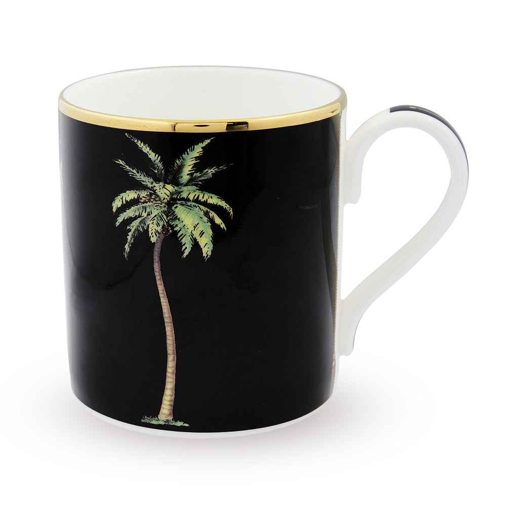 Halcyon Days Palm Mug in Black-Bone China-Sterling-and-Burke