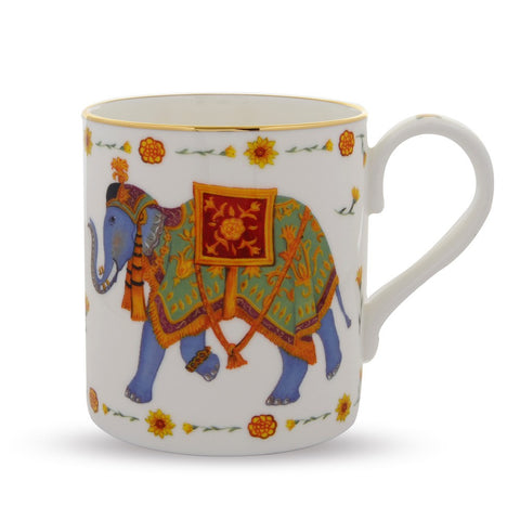 Fine English Bone China | Ceremonial Indian Elephant Mug | White | Halcyon Days | Made in England