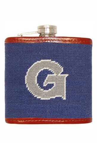 Needlepoint Collection | Georgetown University Needlepoint Flask | Captive Top | Hoya | Blue and Grey | Smathers and Branson