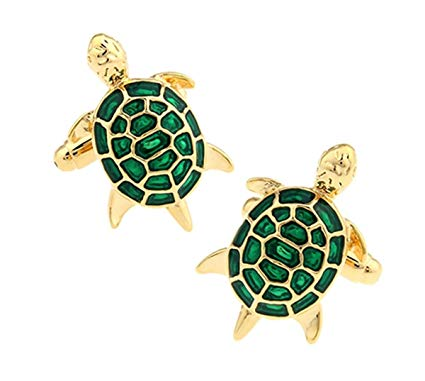 Loggerhead Sea Turtle Cufflinks | Green Enamel on Gold | Delightful Sea Turtle Cufflinks | Isle of Palms