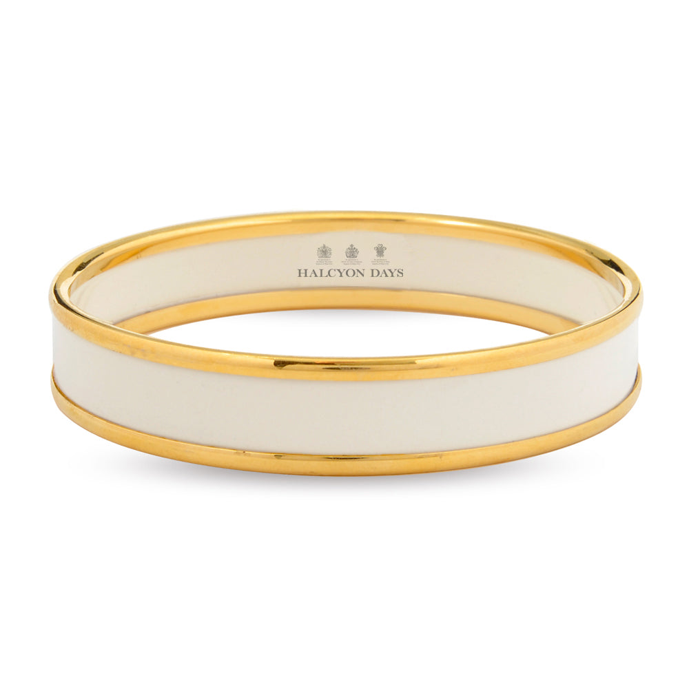 Halcyon Days 1cm Push Bangle in Ivory and Gold | Sterling & Burke-Bangle-Sterling-and-Burke