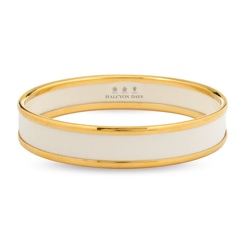 Enamel Bangle | 1cm Push Bangle | Ivory and Gold | Halcyon Days | Made in England