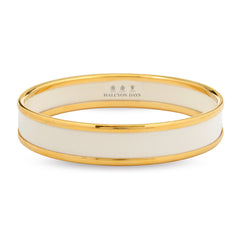 Enamel Bangle | Deep Bangle | Ivory and Gold | Halcyon Days | Made in England-Bangle-Sterling-and-Burke