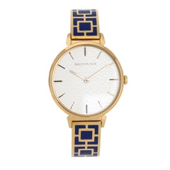 Halcyon Days Maya Enamel Bangle Strap Watch in Cobalt Blue and Gold-Jewelry-Sterling-and-Burke