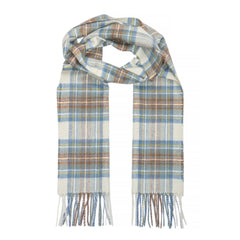 Lambswool Scarf, Muted Blue Stewart Tartan-SCARVES-Sterling-and-Burke