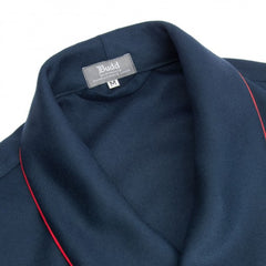 Budd Wool Dressing Gown in Navy & Red-Dressing Gown-Sterling-and-Burke