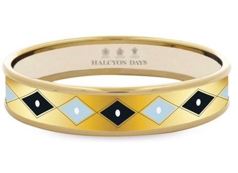 Enamel Bangle | The Meghan Markle Sparkle Bangle, Gold | 1CM | Halcyon Days | Made in England