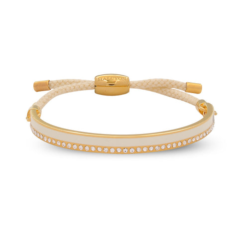 Enamel Bangle | Skinny Plain Sparkle Friendship Bangle, Cream and Gold | Halcyon Days | Made in England-Bangle-Sterling-and-Burke