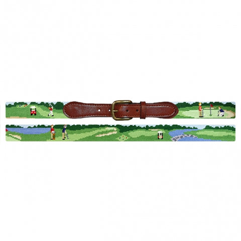 Needlepoint Collection | On The Links Needlepoint Belt | Smathers and Branson-Belt-Sterling-and-Burke