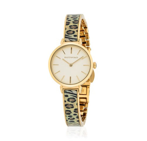 Halcyon Days Mixed Animal Print Enamel Bangle Strap Watch in Animal and Gold-Jewelry-Sterling-and-Burke