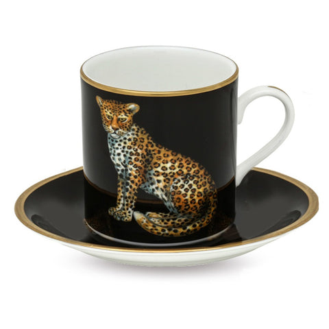 Fine English Bone China | MW Twin Leopards Coffee Cups and Saucers, Black | Set of 6 | Halcyon Days | Made in England-Coffee / Tea Set-Sterling-and-Burke