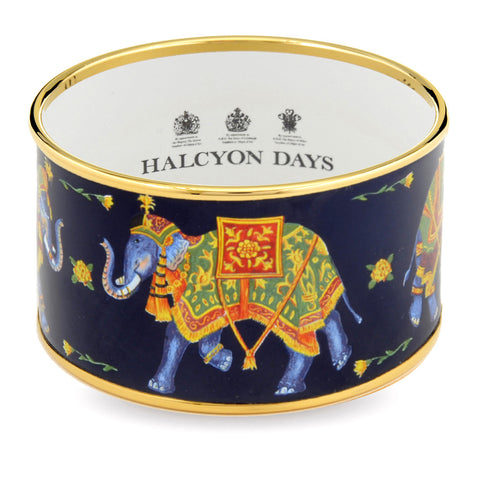 Enamel Bangle | 4cm Ceremonial Indian Elephant Push Bangle | Wide Cuff | Navy | Halcyon Days | Made in England