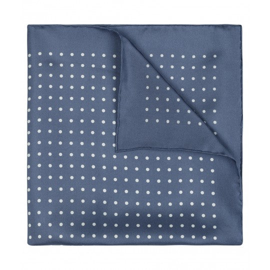 Medium Spot Pocket Square, Butcher Blue and White | Premium Silk | Made in England | Budd Shirtmakers-Pocket Square-Sterling-and-Burke