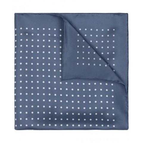 Budd Pocket Square | Medium Spot Pocket Square | Butcher Blue / White | Made in England | Budd Shirtmakers | Made in England