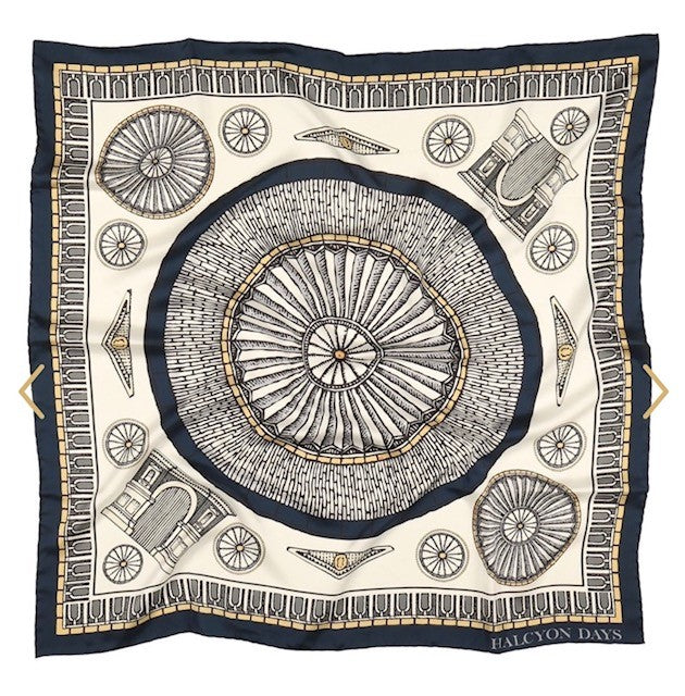 Halcyon Days Royal Albert Hall Silk Scarf in Navy, 36 by 36 Inches-Ladies Silk Scarf-Sterling-and-Burke
