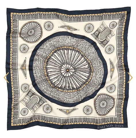 Halcyon Days Royal Albert Hal Silk Scarf in Navy, 36 by 36 Inches