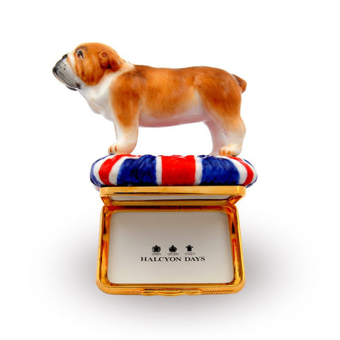 Porcelain and Enamel Box | British Bulldog Bonbonniere Enamel Box | Halcyon Days | Made in England-Enamel Box-Sterling-and-Burke