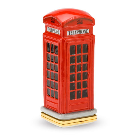 Porcelain and Enamel Box | Telephone Box Bonbonniere Enamel Box | Halcyon Days | Made in England