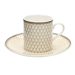 Fine English Bone China | Antler Trellis Coffee Cups and Saucers, Ivory | Set of 6 | Halcyon Days | Made in England-Coffee / Tea Set-Sterling-and-Burke
