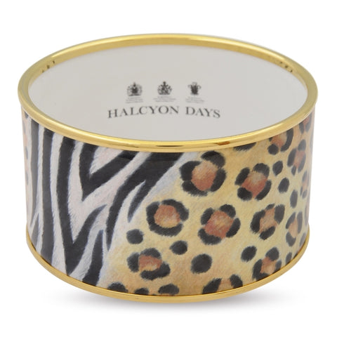 Enamel Bangle | 4cm Animal Print Cuff, Black and Gold | Halcyon Days | Made in England-Bangle-Sterling-and-Burke