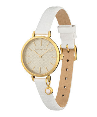 Halcyon Days Agama Leather Strap Pearl Charm Watch in Cream and Gold
