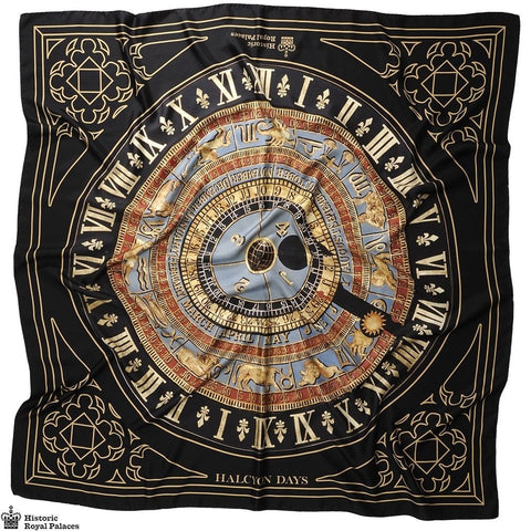 Halcyon Days Silk Shawl | Astronomical Clock Royal | Black | Large Silk Scarf | 48 by 48 Inches | Made in England