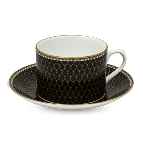 Fine English Bone China | Antler Trellis Tea Cups and Saucers, Black | Set of 5 | Halcyon Days | Made in England-Coffee / Tea Set-Sterling-and-Burke