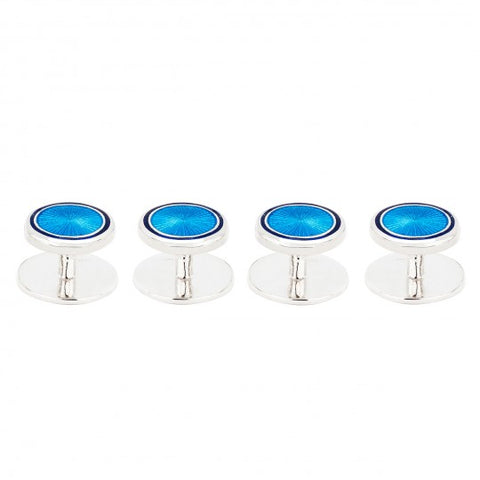 Budd Sunburst Cloisonné Enamel Studs in Blue and Navy-Cufflinks & Studs-Sterling-and-Burke