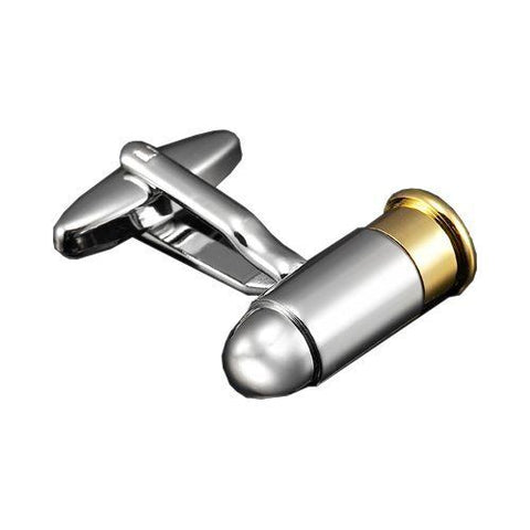 Bullet Cufflinks, Silver and Gold-Cufflinks-Sterling-and-Burke