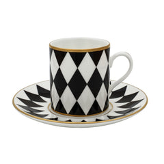 Fine English Bone China | Parterre Coffee Cups and Saucers, Black | Set of 6 | Halcyon Days | Made in England-Coffee / Tea Set-Sterling-and-Burke