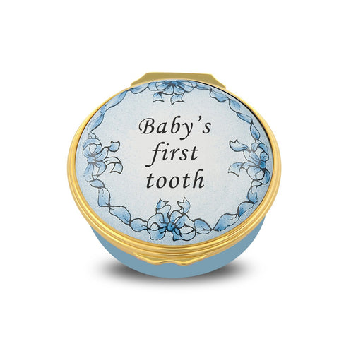 Halcyon Days Baby's First Tooth Enamel Box in Blue | Sterling & Burke