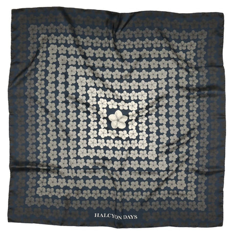 Halcyon Days Tropical Fade Silk Scarf in Navy, 36 by 36 Inches-Ladies Silk Scarf-Sterling-and-Burke