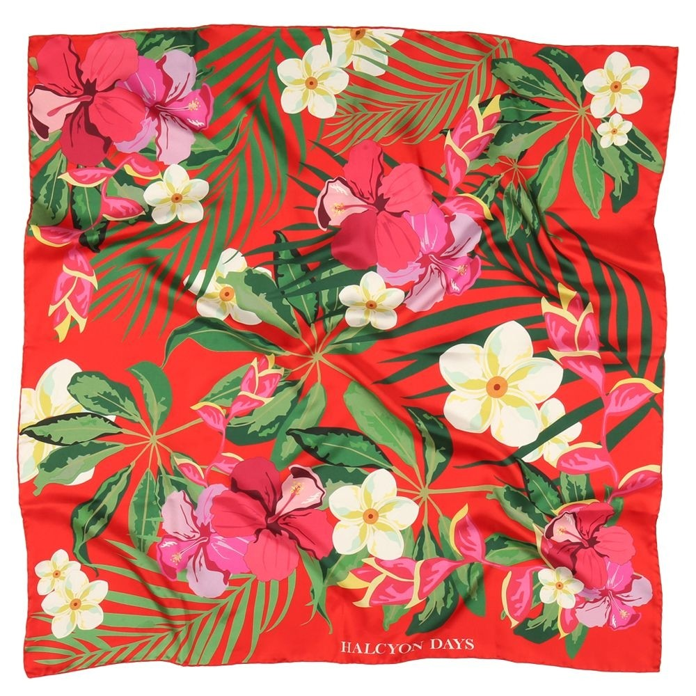 Halcyon Days Silk Scarf | Tropical Flower, Red | Silk Scarf | 36 by 36 Inches | Made in England-Silk Scarf-Sterling-and-Burke