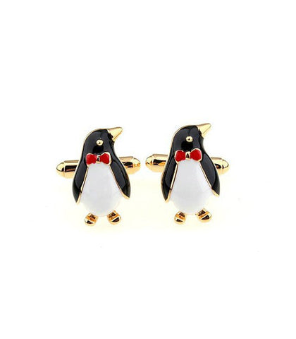 Penguin Cufflinks | Penguins in Tuxedo with Red Bow Tie Cufflinks | Black and White Enamel | Made in USA-Cufflinks-Sterling-and-Burke