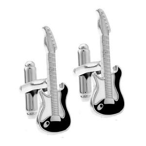 Guitar Cufflinks, Black and White-Cufflinks-Sterling-and-Burke