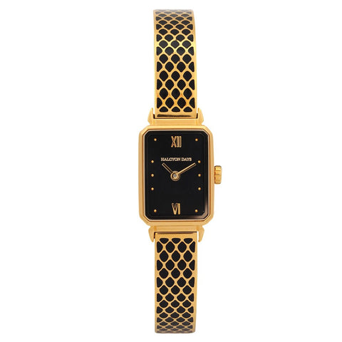 Halcyon Days Salamander Enamel Bangle Strap Watch in Black and Gold-Jewelry-Sterling-and-Burke