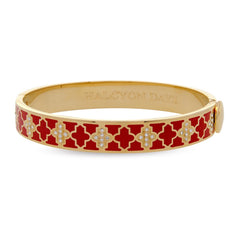 Enamel Bangle | 1cm Agama Sparkle Hinged Red and Gold Bangle | Halcyon Days | Made in England-Bangle-Sterling-and-Burke