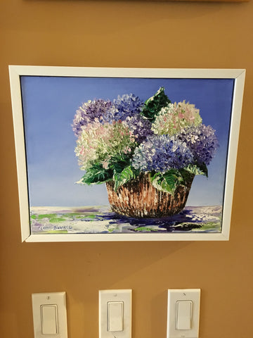 "Art | Summer Hydrangeas | Original Oil Painting by Claire Howard | 8"" x 10"""