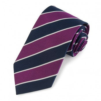 Balliol College, Oxford | Purple / Navy / Silver | Silk Tie | Benson and Clegg | Made in England
