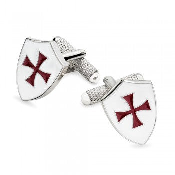 Knights Templar Enamel Cufflinks-Enamel Cufflinks-Sterling-and-Burke