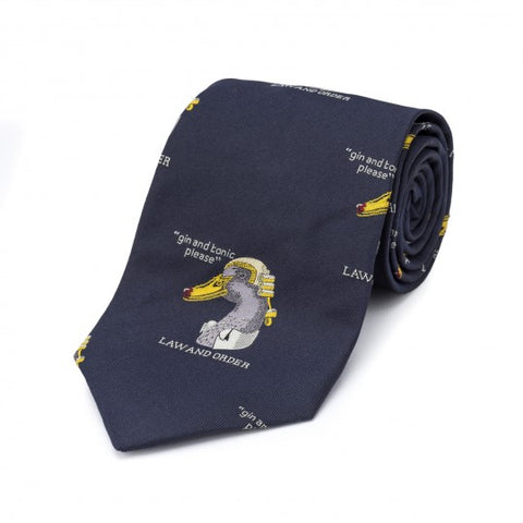 Simon Drew Law And Order Tie, Navy | Silk | Budd Shirtmakers | Made in England