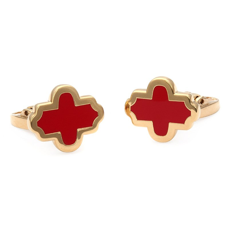 Enamel Cufflinks | Single Agama Cufflinks, Red and Gold | Halcyon Days | Made in England-Enamel Cufflinks-Sterling-and-Burke