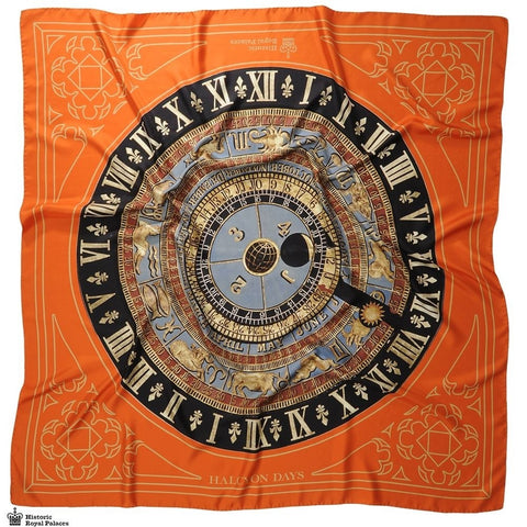 Halcyon Days Silk Shawl | Astronomical Clock Royal, Orange | Large Silk Shawl | 48 by 48 Inches | Made in England-Shawl-Sterling-and-Burke