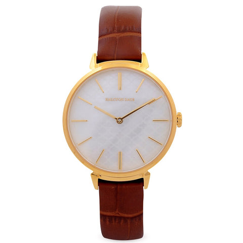 Agama Sport Watch, Brown and Gold | Halcyon Days | Made in England-Ladies Watch-Sterling-and-Burke