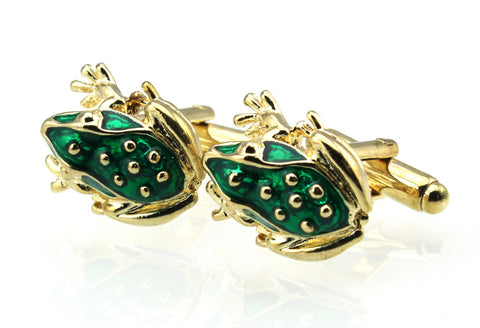 Frog Cufflinks | Hand Enamel | Green on Gold | Made in America | Sterling and Burke Ltd